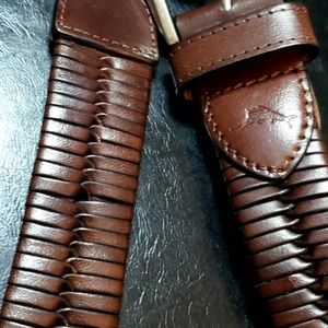 Tommy Bahama Mens 100% Leather Braided Belt Brown